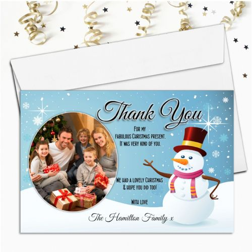 10 Personalised Christmas Snowman Thank you PHOTO Cards N19